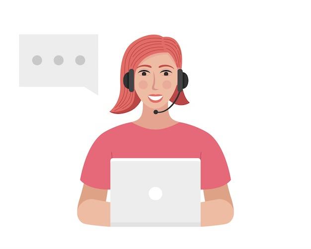 Der callcenter-betreiber mit einem headset tippt auf dem laptop. frau spricht