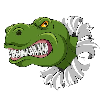 Der cartoon des grünen dinosauriers mit den scharfen zähnen aus den lochwänden