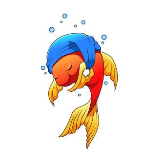 Der cartoon des kleinen schönen fisches mit dem blauen hut und dem schlafen unter dem wasser