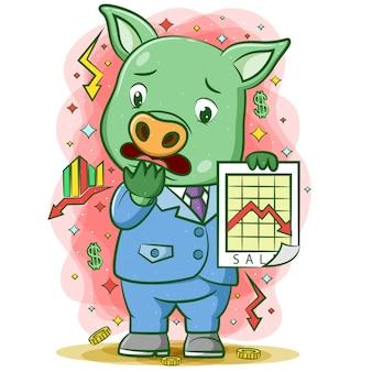 Der cartoon des schweins, der die obere grafik mit dem glücklichen gesicht hält