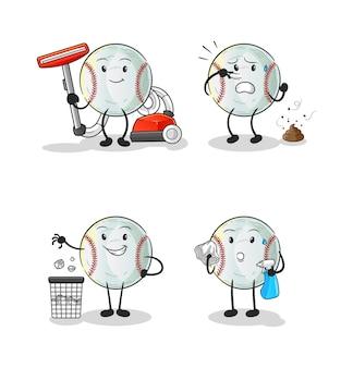 Der charakter der baseball-reinigungsgruppe. cartoon maskottchen
