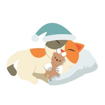 Der charakter der katze schlafend auf weißem kissen