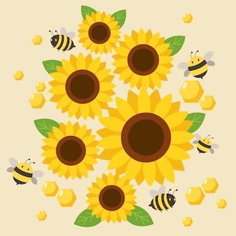 Der charakter der netten biene fliegend um die sonnenblume auf dem gelb