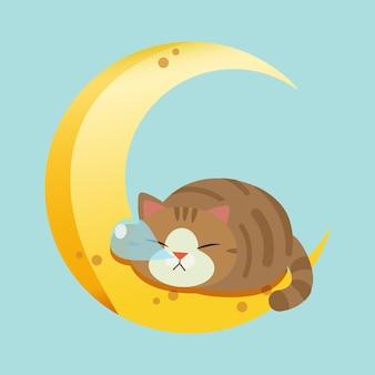 Der charakter der netten katze schlafend auf dem mond.