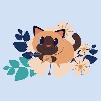 Der charakter der netten katze sitzend auf der sehr großen gelben blume. katze glücklich aussehen.