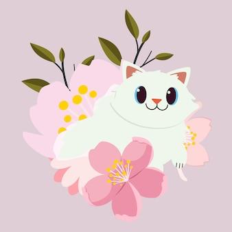 Der charakter der netten katze sitzend auf der sehr großen rosa blume. katze glücklich aussehen.