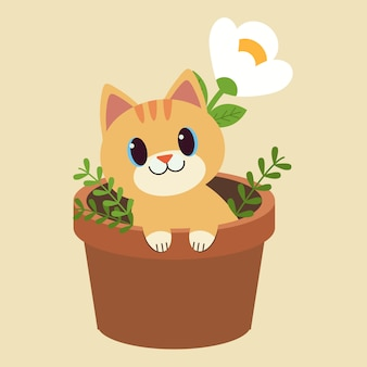 Der charakter der netten katze sitzend im blumentopf.