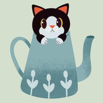 Der charakter der netten katze sitzend im topf des grünen tees.