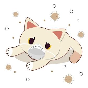 Der charakter der netten katze trägt eine maske mit staub auf weiß