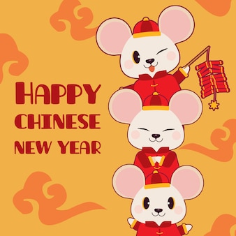 Der charakter der netten maus mit cracker und chinesischer wolke auf dem gelben hintergrund.