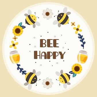 Der charakter der niedlichen biene mit blumenring und text der biene glücklich auf dem weißen hintergrund. der charakter der niedlichen gelben biene und der schwarzen biene, die mit dem blumen- und honigglas im flachen stil spielen.