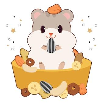 Der charakter der niedlichen hamstermaus, die das essen isst und in der schüssel im flachen stil sitzt.