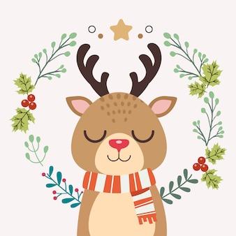 Der charakter der niedlichen hirsche mit dem weihnachtskranz.