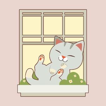 Der charakter der niedlichen katze, die auf dem fenster im flachen stil schläft. abbildung