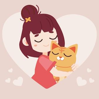 Der charakter der niedlichen katze, die umarmt