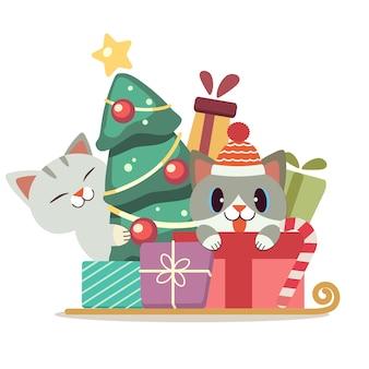 Der charakter der niedlichen katze in der geschenkbox und im weihnachtsbaum im flachen stil. illustration