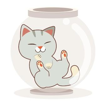 Der charakter der niedlichen katze in der transparenzschale oder im glas auf dem weißen hintergrund. der charakter der niedlichen katze, die im transparenzglas schläft. der charakter der niedlichen katze im flachen stil.