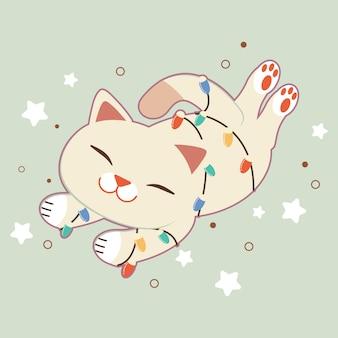 Der charakter der niedlichen katze mit glühlampe sleepping auf grün