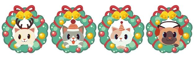 Der charakter der niedlichen katze mit weihnachtskranz
