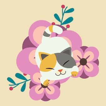 Der charakter der niedlichen katze schlafend auf der sehr großen lila blume. katze glücklich aussehen.