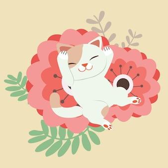 Der charakter der niedlichen katze schlafend auf der sehr großen roten blume. katze glücklich aussehen.