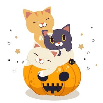 Der charakter der niedlichen katze spielt und schläft auf dem halloween-kürbis im flachen stil. illustration über halloween-party