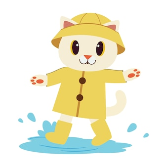Der charakter der niedlichen katze trägt den gelben regenmantel und die stiefel im flachen vektorstil.