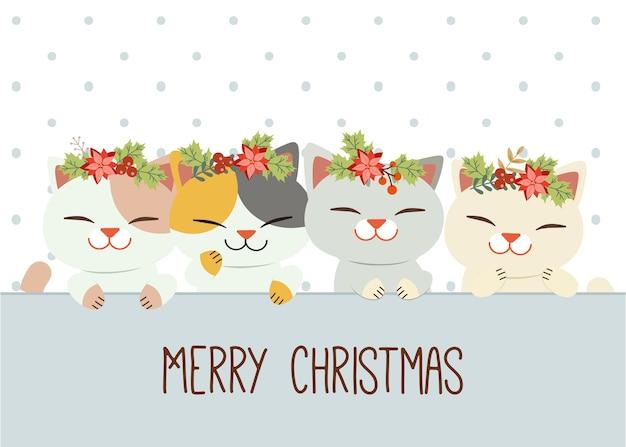 Der charakter der niedlichen katze trägt einen weihnachtskranz wie eine krone.