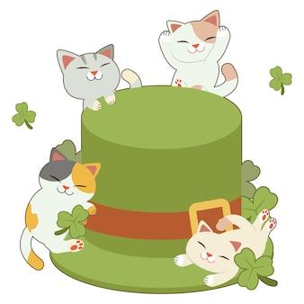Der charakter der niedlichen katze und der freunde mit dem großen grünen zylinder und kleeblatt