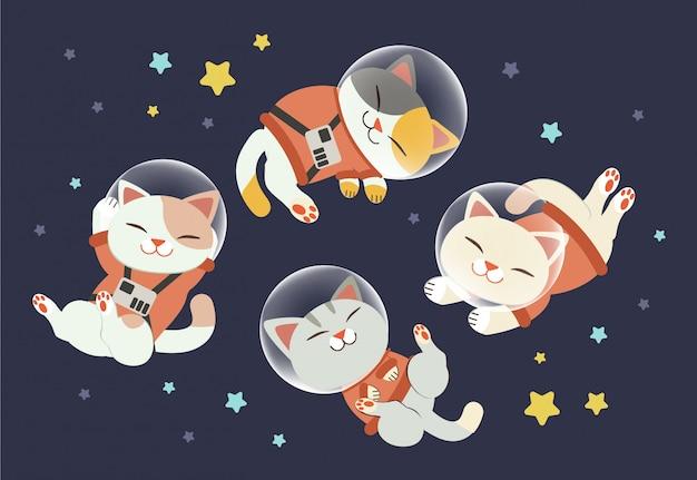 Der charakter der süßen katze trägt einen raumanzug mit freunden