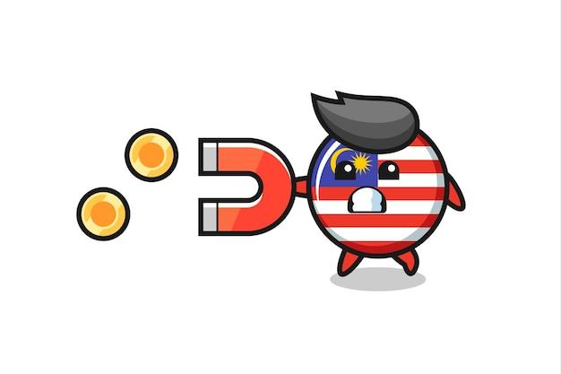 Der charakter des malaysischen flaggenabzeichens hält einen magneten, um die goldmünzen zu fangen, niedliches design für t-shirts, aufkleber, logo-elemente