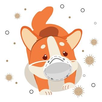 Der charakter des niedlichen corgi-hundes trägt eine maske mit staub auf dem weißen hintergrund. der charakter des niedlichen corgi-hundes sieht wegen staub traurig und krank aus. der charakter des niedlichen hundes im flachen stil.