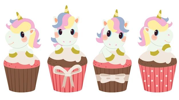 Der charakter des niedlichen einhorns mit cupcake