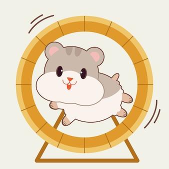 Der charakter des niedlichen hamsters, der mit dem rattenrad läuft