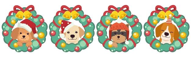 Der charakter des niedlichen hundes mit weihnachtskranz