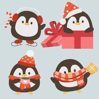 Der charakter des niedlichen pinguins trägt ein accessoire