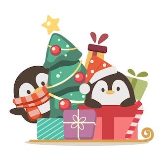 Der charakter des niedlichen pinguins trägt weihnachtskostüm und spielt mit geschenkbox im flachen stil. abbildung über urlaub für grafik, inhalt, grußkarte.