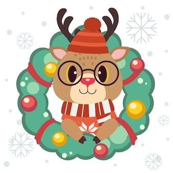 Der charakter des niedlichen rentiers mit weihnachtskranz mit schneeflocken