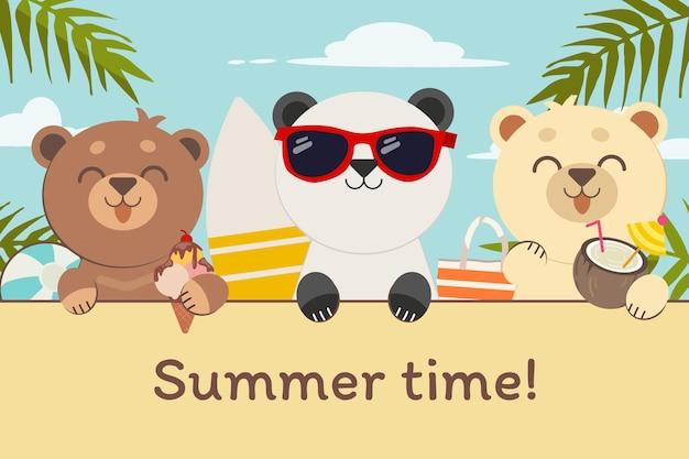 Der charakter des süßen bären mit freunden in der strandparty für die sommerzeit