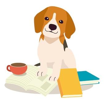 Der charakter des süßen beagles auf dem buchstapel der süße hund mit bildungskonzept
