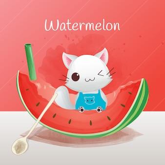 Der charakter einer niedlichen katze, die auf wassermelone sitzt, trinkt wassermelone, wassermelonenart, aquarellart.