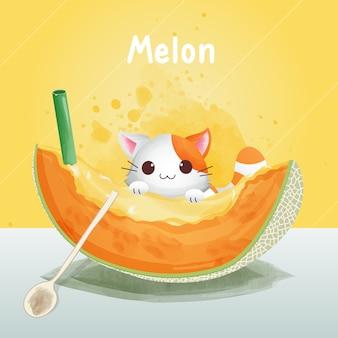 Der charakter einer niedlichen katze klammert sich an die melone. trinken sie melonensaft, wassermelonenart, aquarellart.