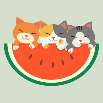 Der charakter einer süßen katze mit einer großen wassermelone. sie sehen sehr glücklich und entspannend aus. katze, die eine große wassermelone im sommerthema isst.