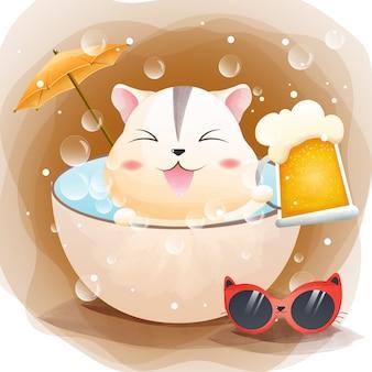 Der charakter eines niedlichen hamsters und fassbiers in der badewanne im sommeraquarellstil.