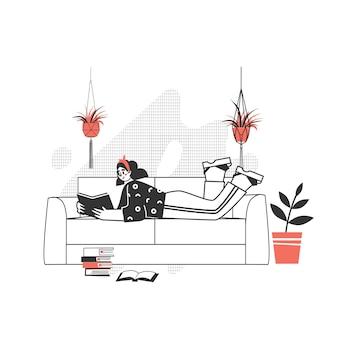 Der charakter liest ein buch. das mädchen mit einer leidenschaft für das lesen von literatur auf dem sofa. liebe es, modernes schreiben zu lesen.