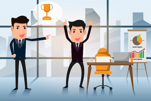 Der chef lobt den mitarbeiter für eine erfolgreiche arbeit.