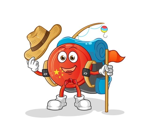 Der china-abzeichen-scout. zeichentrickfigur