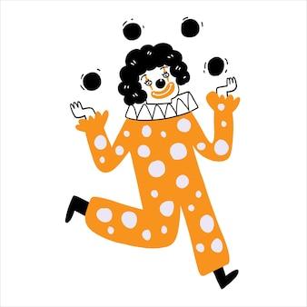 Der clown wirft drei bälle. vektor-illustration handgezeichnet