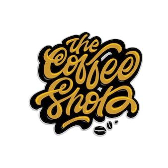 Der coffee shop schriftzug label