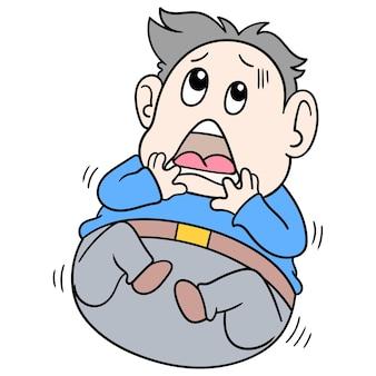 Der dicke mann kauerte mit einem sehr verängstigten gesicht unten zusammengekauert, vektorillustrationskunst. doodle symbolbild kawaii.